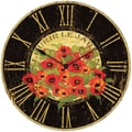 "Infinity Instruments Le Jardin Red Poppy 24"" Large Traditional Wall Clock"