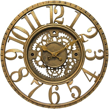Infinity Instruments 12832AG Gear Resin Analog Wall Clock, Antique Gold