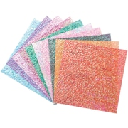 Global Art Folia Origami Paper, 6 x 6, Textured Iridescent, 50/Pkg, Crystal Embossing