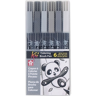 Sakura Koi Coloring Brush Set, 6 Gray Color Set