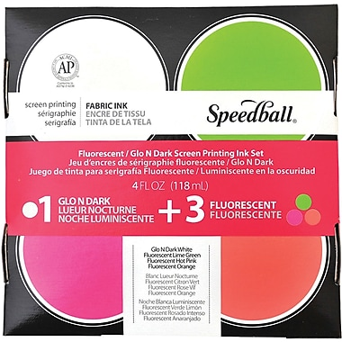 Speedball Art Products Glo N'Dark & Fluorescent Screen Printing Ink Set