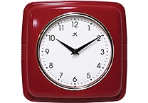 Infinity Instruments Retro Square Red Resin Wall Clock