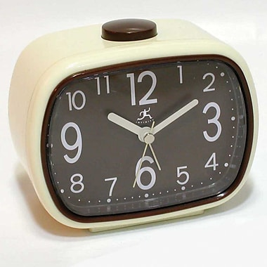 Infinity Instruments 13229IV-2449BR That 70's Plastic Analog Table Clock, Ivory/Brown