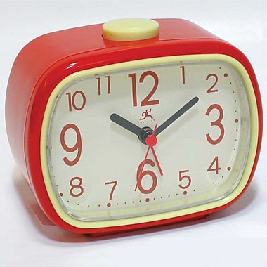 Infinity Instruments 13229RD-2449IV That 70's Plastic Analog Table Clock, Ivory/Red