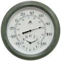 Infinity Instruments Thermometer Wall Clock, Moss Green