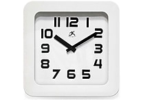 Infinity Instruments Contemporary White Resin Wall Clock, Black Colored Hands