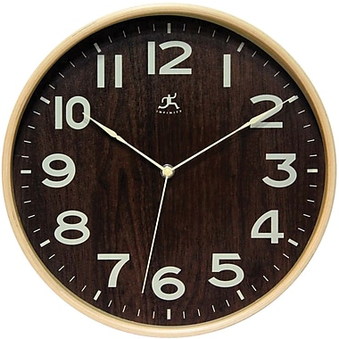 Infinity Instruments Modern Light Wood Case Wall Clock, 12.5in. Diameter