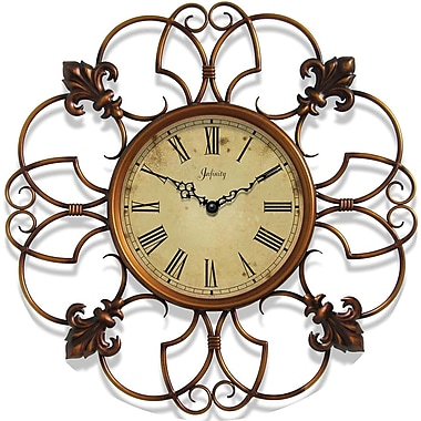 Infinity Instruments 14077CP-3197 Province Steel Analog Wall Clock, Copper