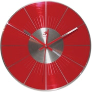 Infinity Instruments Modern Red Brushed Aluminum Wall Clock