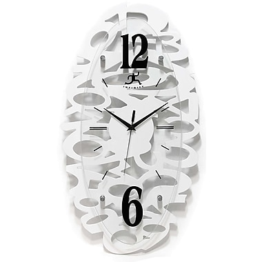Infinity Instruments Modern Scattered Number MDF Oval Wall Clock, White