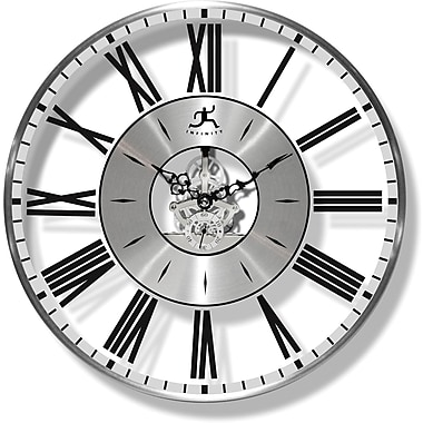 Infinity Instruments 14085BN-3168 Paragon Metal Analog Wall Clock, Silver