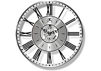 Infinity Instruments Paragon Silver Metal Modern Wall Clock with Functioning Gears