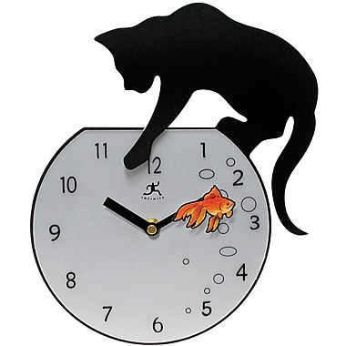 Infinity Instruments Cat Chasing the Gold Fish Novelty Wall Clock
