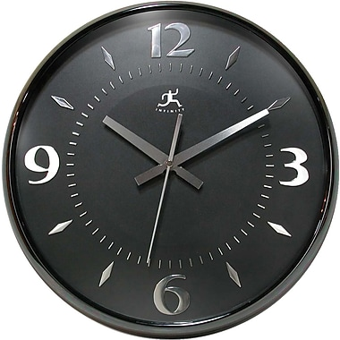 Infinity Instruments Modern Black Pearl Finish Wall Clock with Convex Lens