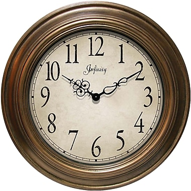 Infinity Instruments Atheneum 24in. Traditional Metal Wall Clock, Gold