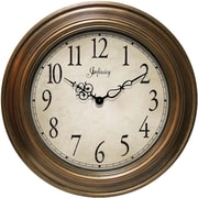 Infinity Instruments 14111AG-3201 Atheneum Resin Analog Wall Clock, Antique Gold