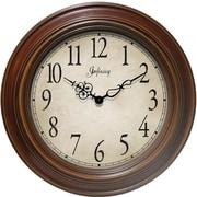 Infinity Instruments 14111AW-3201 Atheneum Resin Analog Wall Clock, Walnut