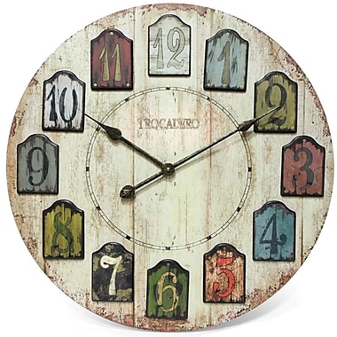 "Infinity Instruments 24"" Weathered Plank Traditional Wall Clock"