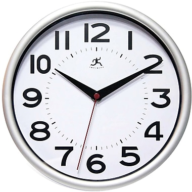Infinity Instruments 14220SV-3364 Metro Resin Analog Wall Clock, Silver