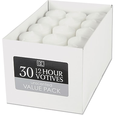 Darice Unscented 12 Hour Votive Candle, 30/Pkg, White