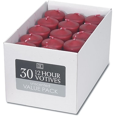 Darice Unscented 12 Hour Votive Candle, 30/Pkg, Red