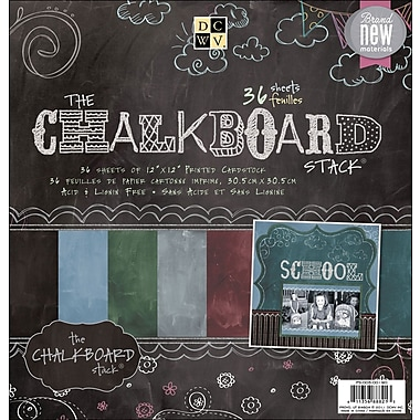 Diecuts With A View Chalkboard Paper Stack 12in.X12in.-36 Sheets