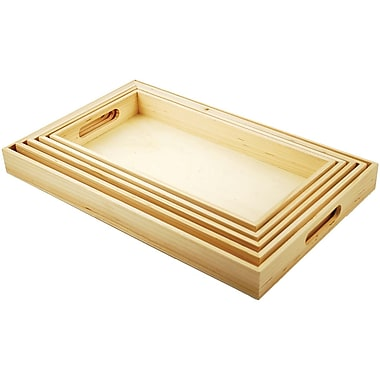 Multicraft Imports Paintable Wooden Tray Set W/Handles, 5/Set