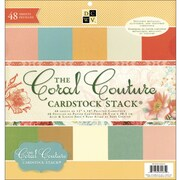 """Diecuts With A View Coral Couture Solid Cardstock Stack 12""""X12""""-48 Sheets"""