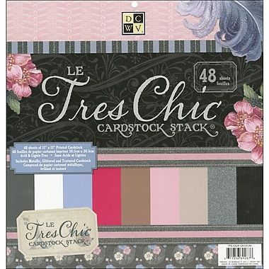 Diecuts With A View Le Tres Chic Solid Cardstock Stack 12in.X12in.-48 Sheets