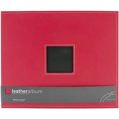 American Crafts Leather D-Ring Album, 12in. x 12in., Cardinal