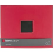 American Crafts Leather D-Ring Album, 12 x 12, Cardinal