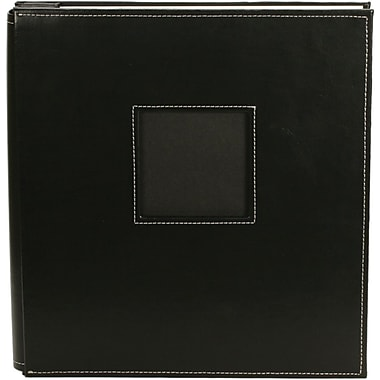 American Crafts Leather Postbound Album With Window 8.5in. x 11in., Black
