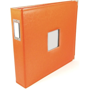 We R Memory Keepers We R Classic Leather Window 3-Ring Binder 12in. x 12in. Album, Orange Soda