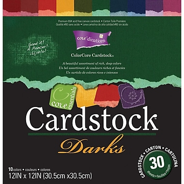 Darice Core Essentials Cardstock Pack, 12in. x 12in., Darks
