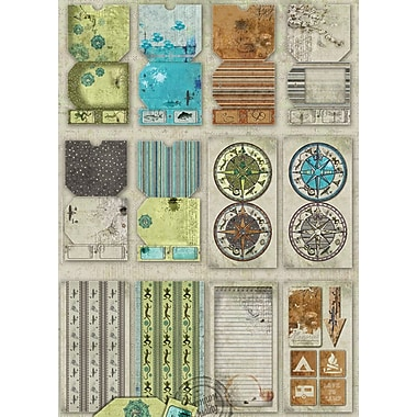 Fabscraps Rustic Die-Cut Tags Journal 8in. x 4in. Pad 60 Sheets-Tags/Pockets/Tickets/Borders