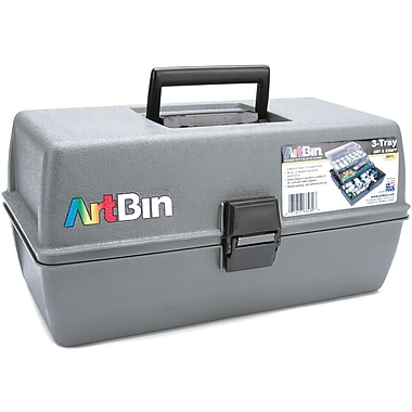 ArtBin Upscale 3 Tray Box Art Tote, Slate Grey
