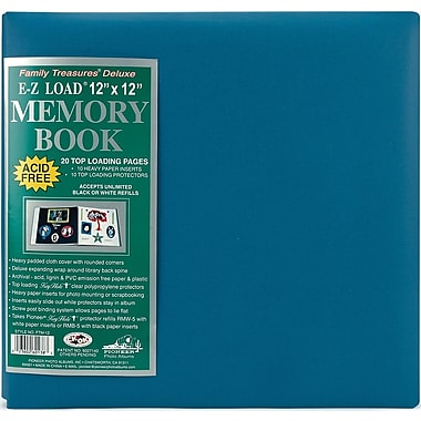 Pioneer Family Treasures Deluxe Fabric Postbound Album, 12in. x 12in., Seabreeze Blue