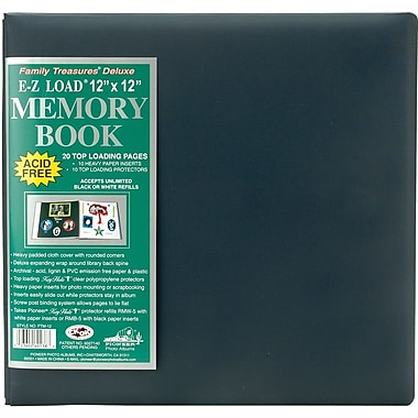 Pioneer Family Treasures Deluxe Fabric Postbound Album, 12in. x 12in., Midnight Blue
