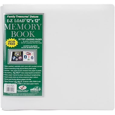 Pioneer Family Treasures Deluxe Fabric Postbound Album, 12in. x 12in., White