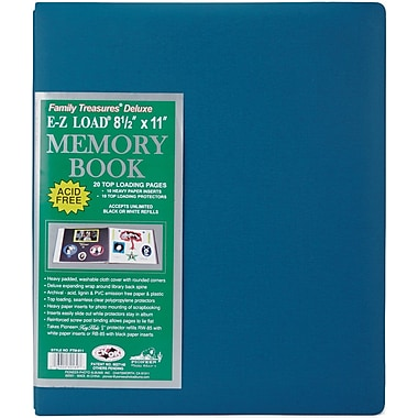 Pioneer Family Treasures Deluxe Fabric Postbound Album, 8.5in. x 11in., Seabreeze Blue