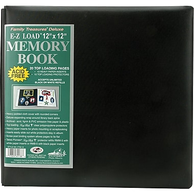Pioneer Family Treasures Deluxe Fabric Postbound Album, 12in. x 12in., Black