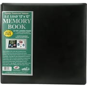 "Pioneer Family Treasures Deluxe Fabric Postbound Album, 12"" x 12"", Black"