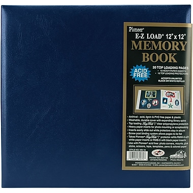 Pioneer Leatherette Postbound Album, 12in. x 12in., Navy