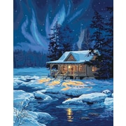 "Dimensions Paint By Number Craft Kit Painting, 16"" x 20"", Moonlit Cabin (91223)"