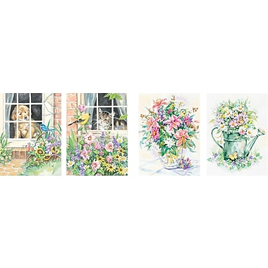 Dimensions Pencil By Number Kit, 9in. x 12in., Set of 4: Cat, Dog, (2) Floral
