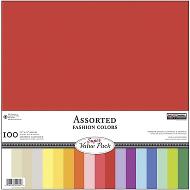 ANW/Paper Company Paper Company Cardstock Super Value Pack, 12in. x 12in., Assorted