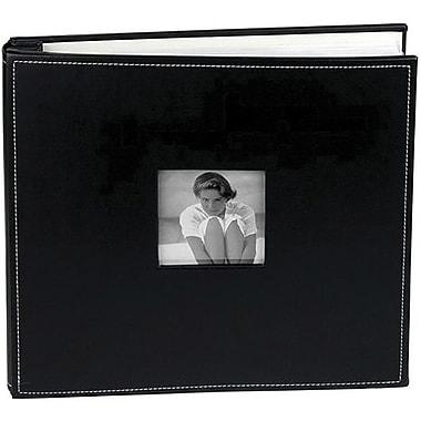 Making Memories Leather Postbound Album W/Window, 12in. x 12in., Asphalt