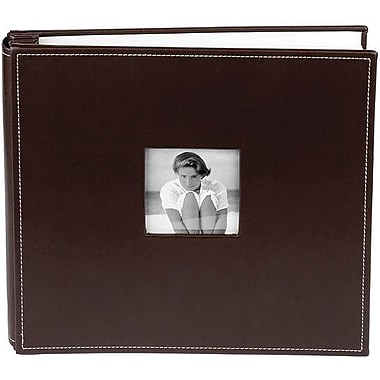 Making Memories Leather Postbound Album W/Window, 12in. x 12in., Chocolate