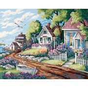 "Dimensions Paint By Number Craft Kit Painting, 20"" x 16"", Cottages By The Sea (91290)"