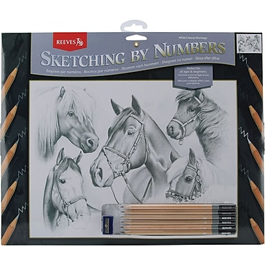 Reeves Sketching By Number Kit, 11-1/2in. x 15-1/2in., Horse Montage